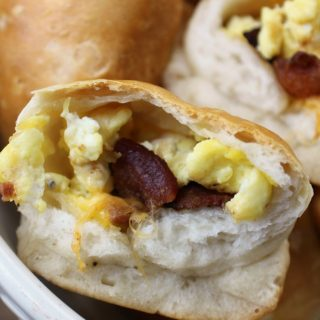 Stuffed Breakfast Biscuits with egg, bacon and cheese