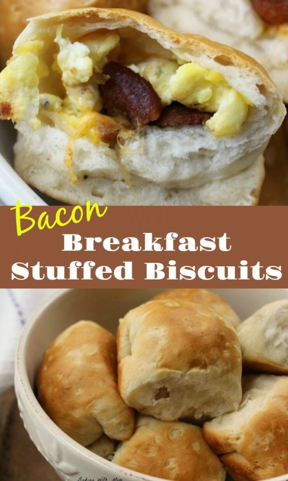 Breakfast Stuffed Biscuits with egg, bacon and cheese