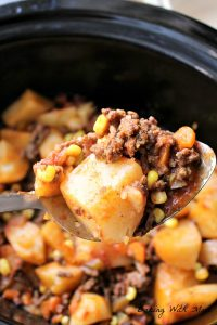 Crock Pot 4 Layer Hamburger Potato Casserole easy crock pot recipe with hamburger and potatoes