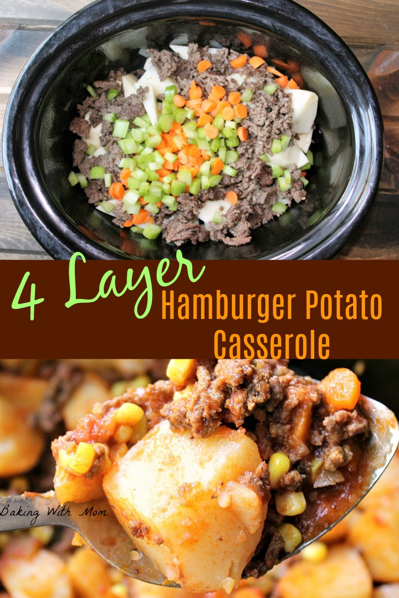 Crock Pot 4 Layer Hamburger Potato Casserole  on a serving spoon and raw ready to cook (collage)