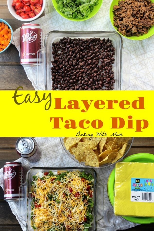 Easy Layered Taco Dip with toppings in bowls