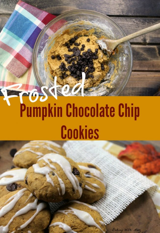 Frosted Pumpkin Chocolate Chip Cookies Easy to make fall recipe. Moist and soft, these flavorful cookies are great for bonfires and fall parties. #fall #fallrecipes #pumpkin #pumpkinrecipes || BakingWithMom