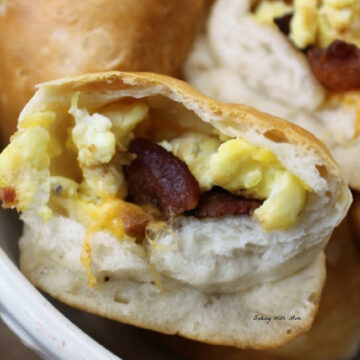 Close up of eggs, bacon in a biscuit