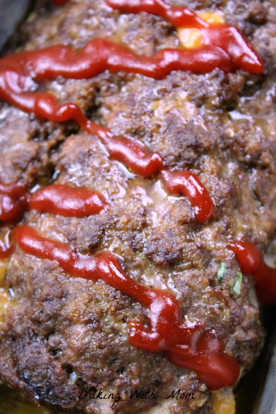 Stuffed Cheesy Meatloaf with ketchup