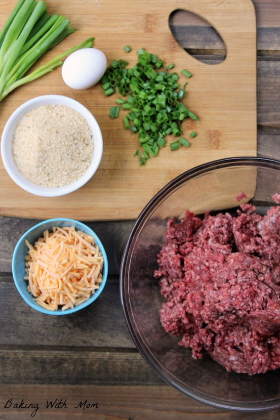 hamburger in a bowl, green onions, shredded cheese, bread crumbs