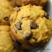 Close up of pumpkin chocolate chip muffin