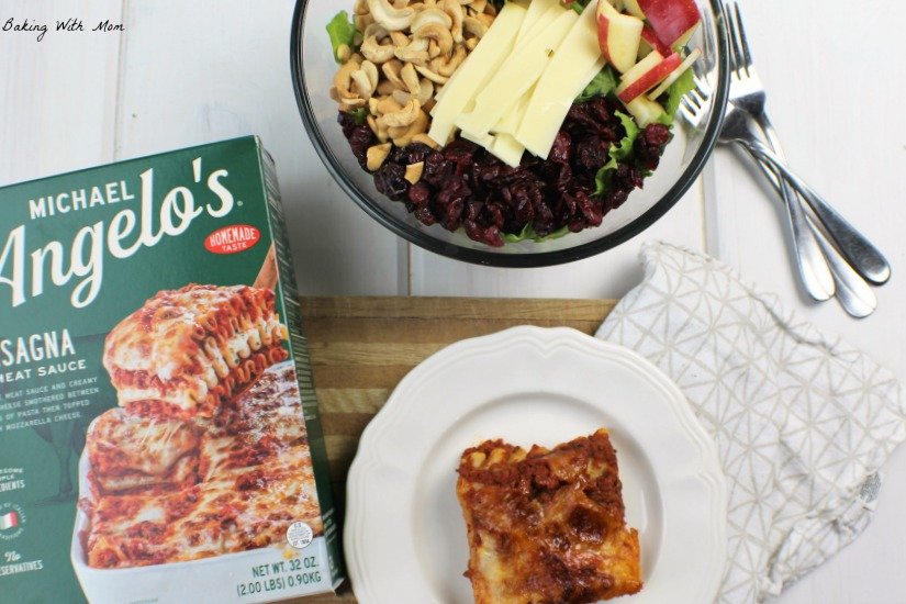 Michael Angelo's Lasagna with an Apple Cranberry Lettuce Salad #ad