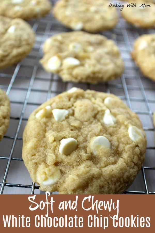 Soft and Chewy White Chocolate Chip Cookies on a baking rack
