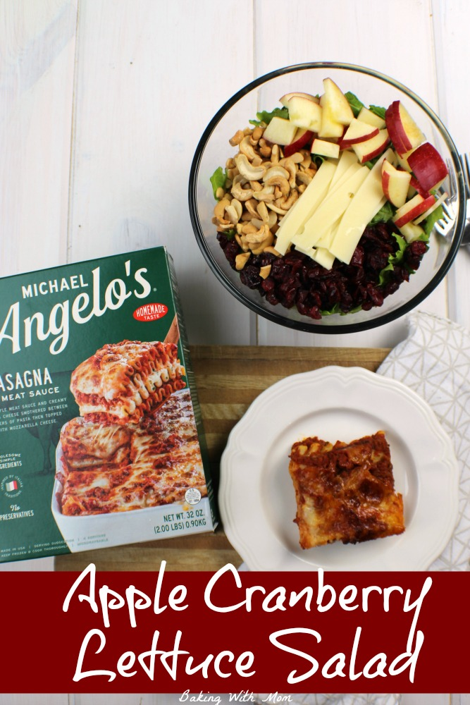 Apple Cranberry Lettuce Salad with a Poppy Seed Dressing paired with delicious Michael Angelo's Lasagna #ad #KitchenCraftedItalian #MichaelAngelosMeals