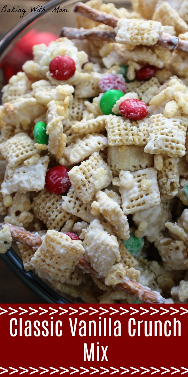 Classic Vanilla Crunch Mix with pretzels, cereal and M&M's