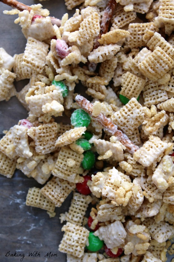 Classic Vanilla Crunch Mix with pretzels and cereal on wax paper