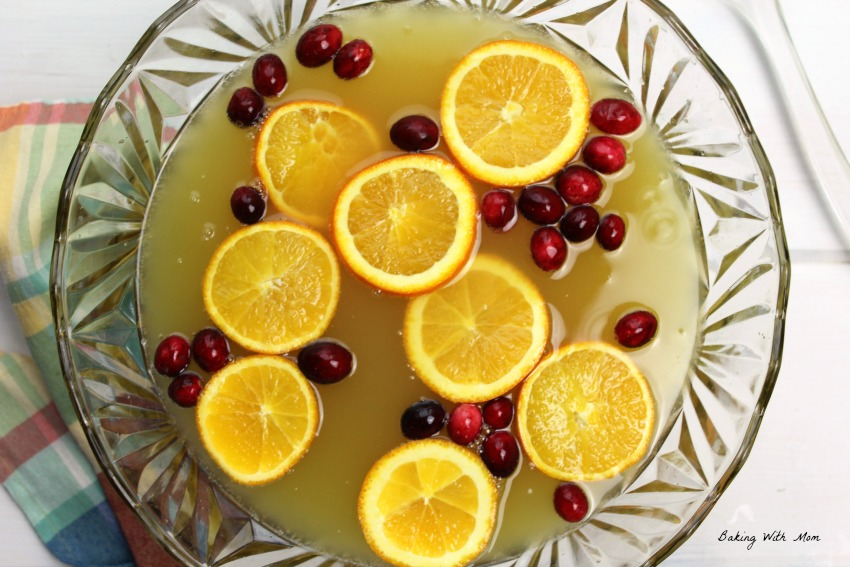 Holiday Orange Juice Punch in a punch bowl