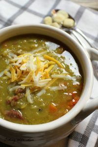 Split Pea Soup With Ham in a cream bowl with cheese
