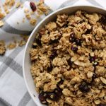 Easy Homemade Granola with craisins and oatmeal in a bowl