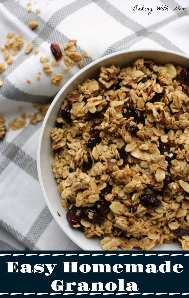 Easy Homemade Granola with dried cranberries
