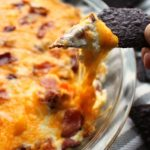 Hot Cheesy Sweet Pepper Dip with Blue Tortilla Chips