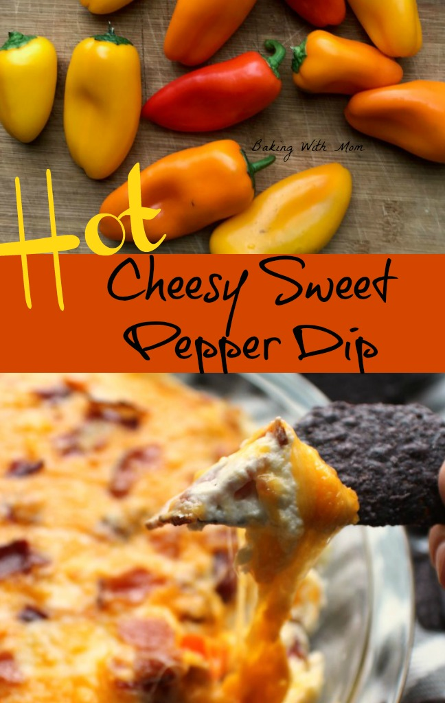 Hot Cheesy Sweet Pepper Dip with tortilla chips