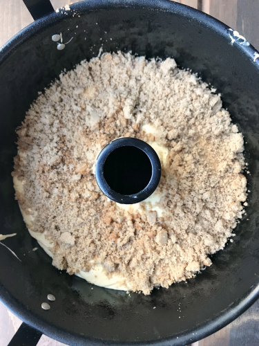 Brown Sugar Coffee Cake dough in tube pan