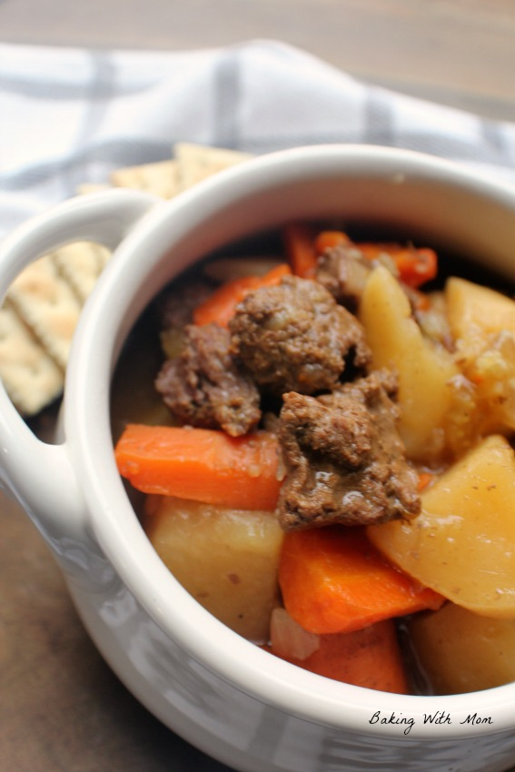 Beef stew meat with potatoes, carrots and celery
