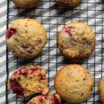 Easy Raspberry Muffins on a cooling rack