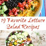 Two lettuce salads with veggies and beans as toppings