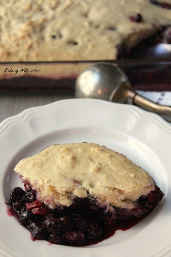 Cooked blueberry cobbler