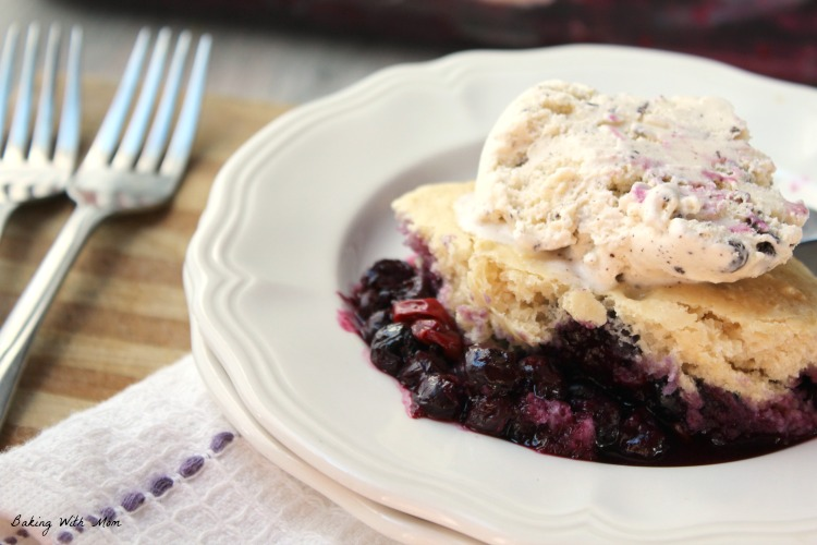 Easy Blueberry Cobbler with forks on a white plate