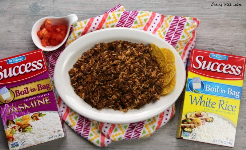 Hamburger and Rice in a serving dish