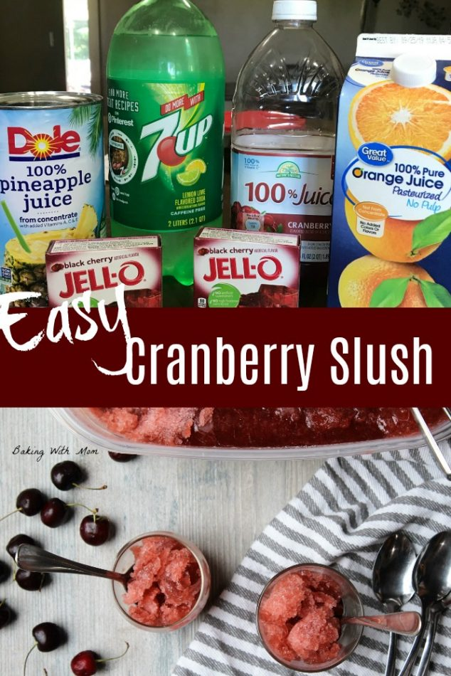 Cranberry Slush with orange juice, jello, 7-up
