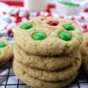 stack of m&m cookies on a cooling rack