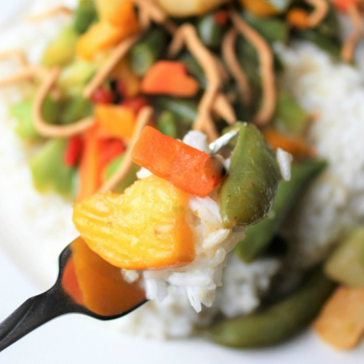 green beans, carrots and other veggies with rice on a fork
