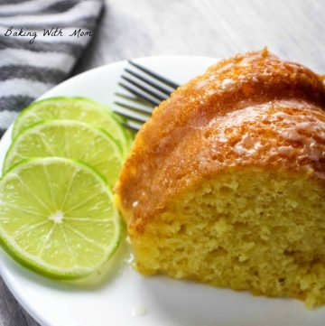 Slice of Key Lime Cake with lime slices