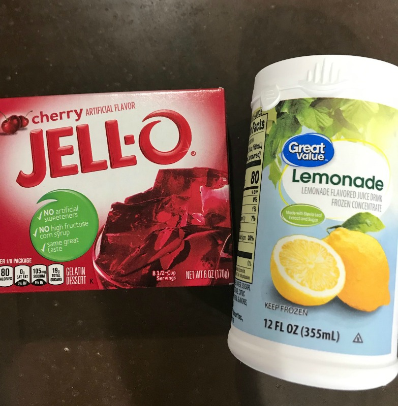 Box of cherry jello and a can of frozen lemonade