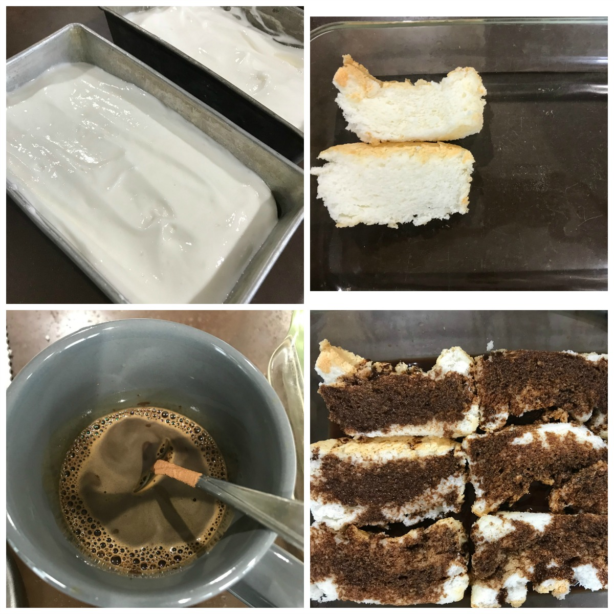 A college of pictures: angel food batter, angel food cake, coffee in a cup and coffee soaked angel food cake