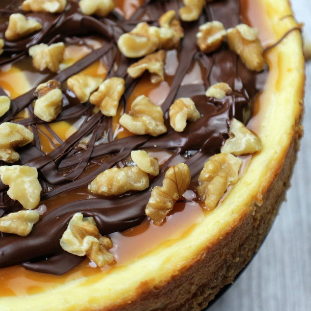 turtle cheesecake with walnuts on a backdrop