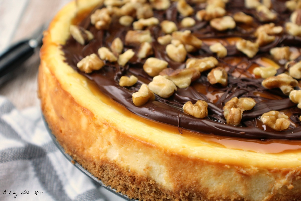 Close up of turtle cheesecake and graham cracker crust