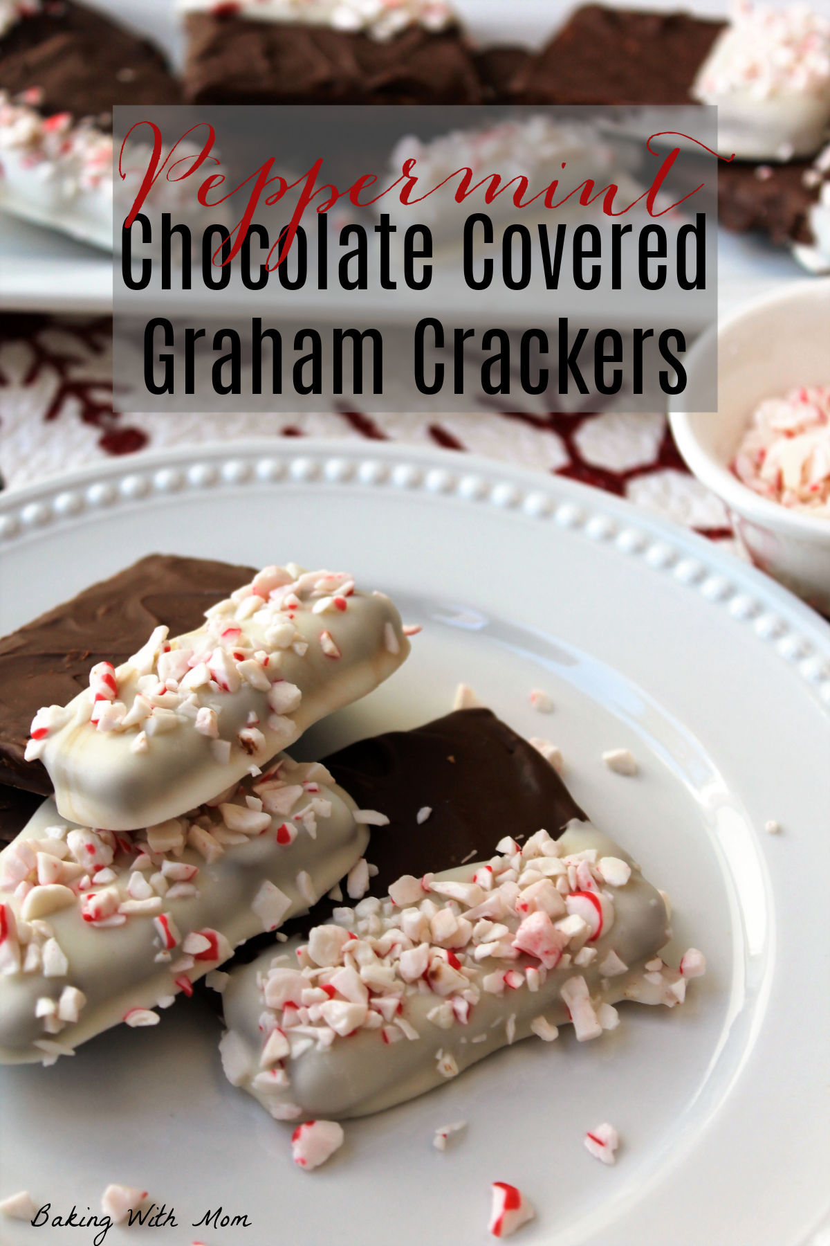 stacked in 3 chocolate covered graham crackers with mint sprinkles