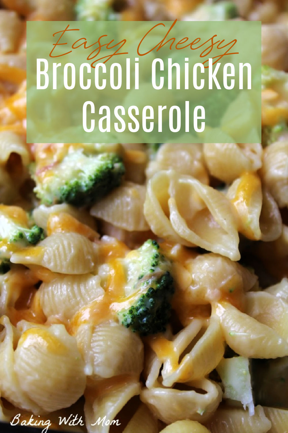 Close up of chicken casserole with broccoli.