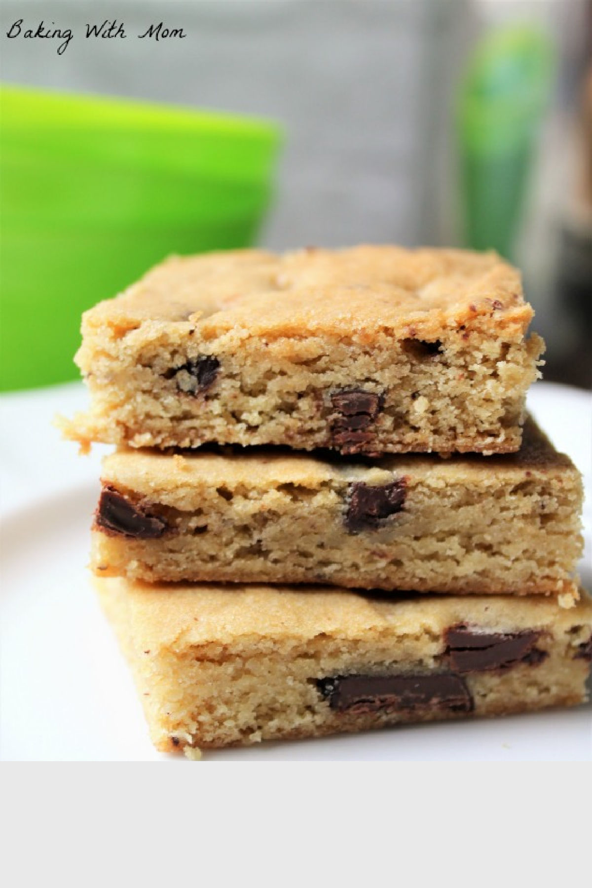 3 cookie bars stacked on a plate