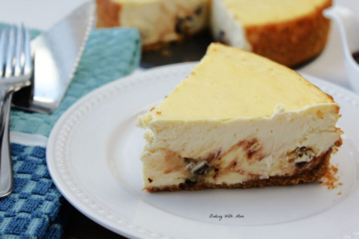 slice of cookie dough cheesecake.