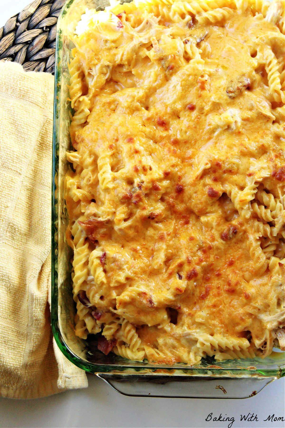 casserole dish of chicken noodle casserole.