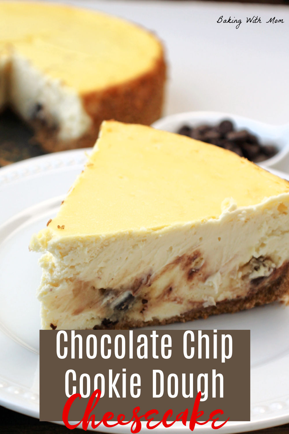 Slice of cheesecake with cookie dough inside