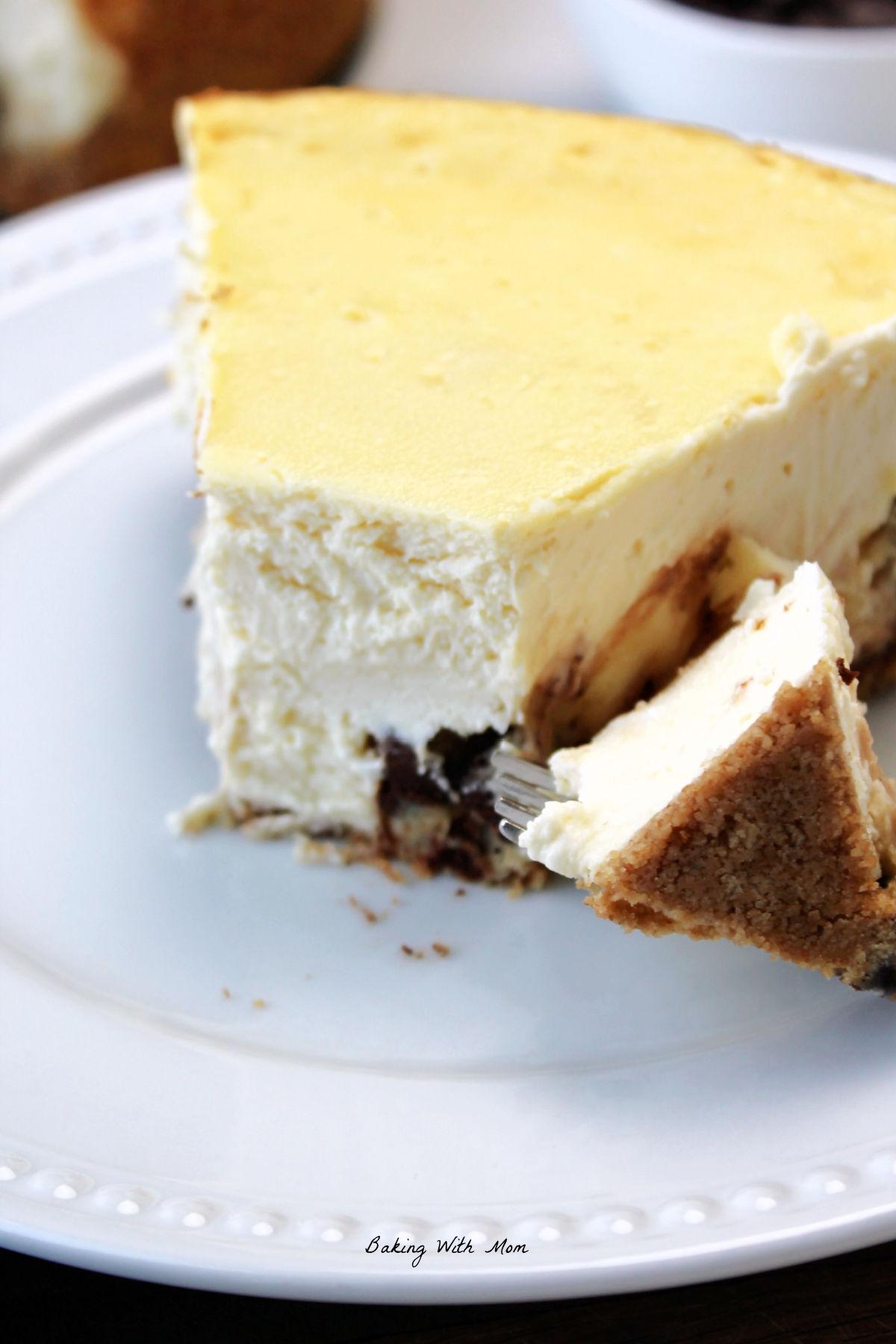 A bite of cheesecake