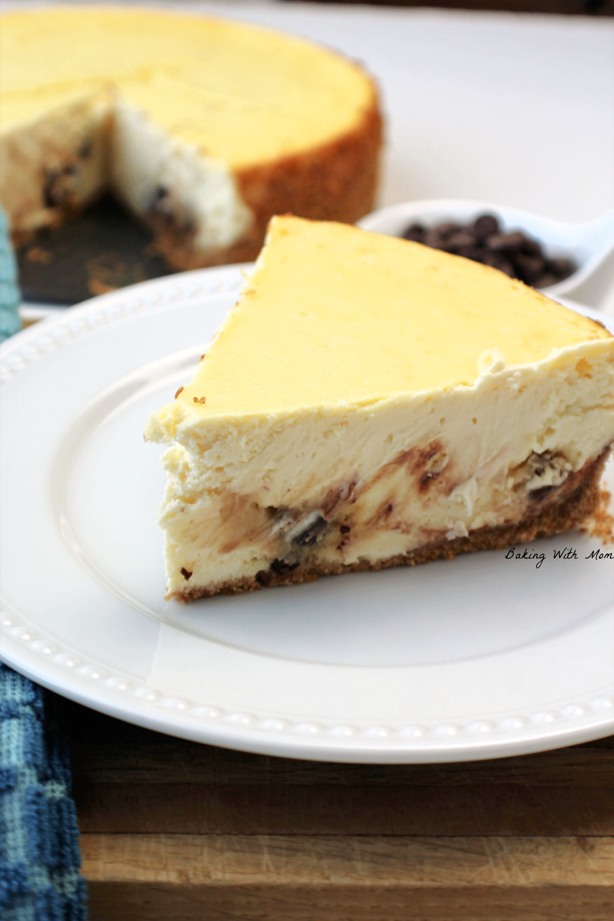 Slice of chocolate chip cookie dough cheesecake.