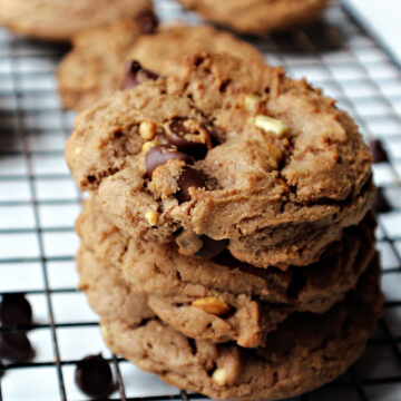 Chocolate peanut butter cookies in a stack