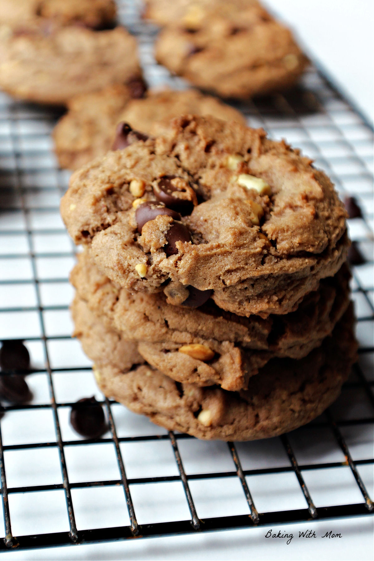 Chocolate peanut butter cookies in a stack of 3.