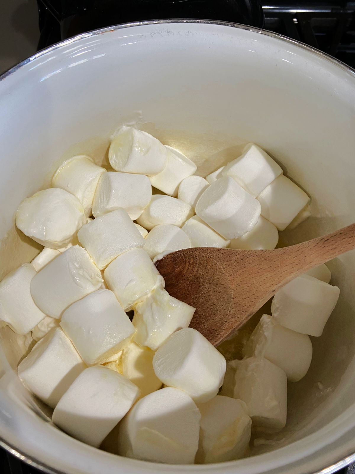 Melting butter and marshmallows together