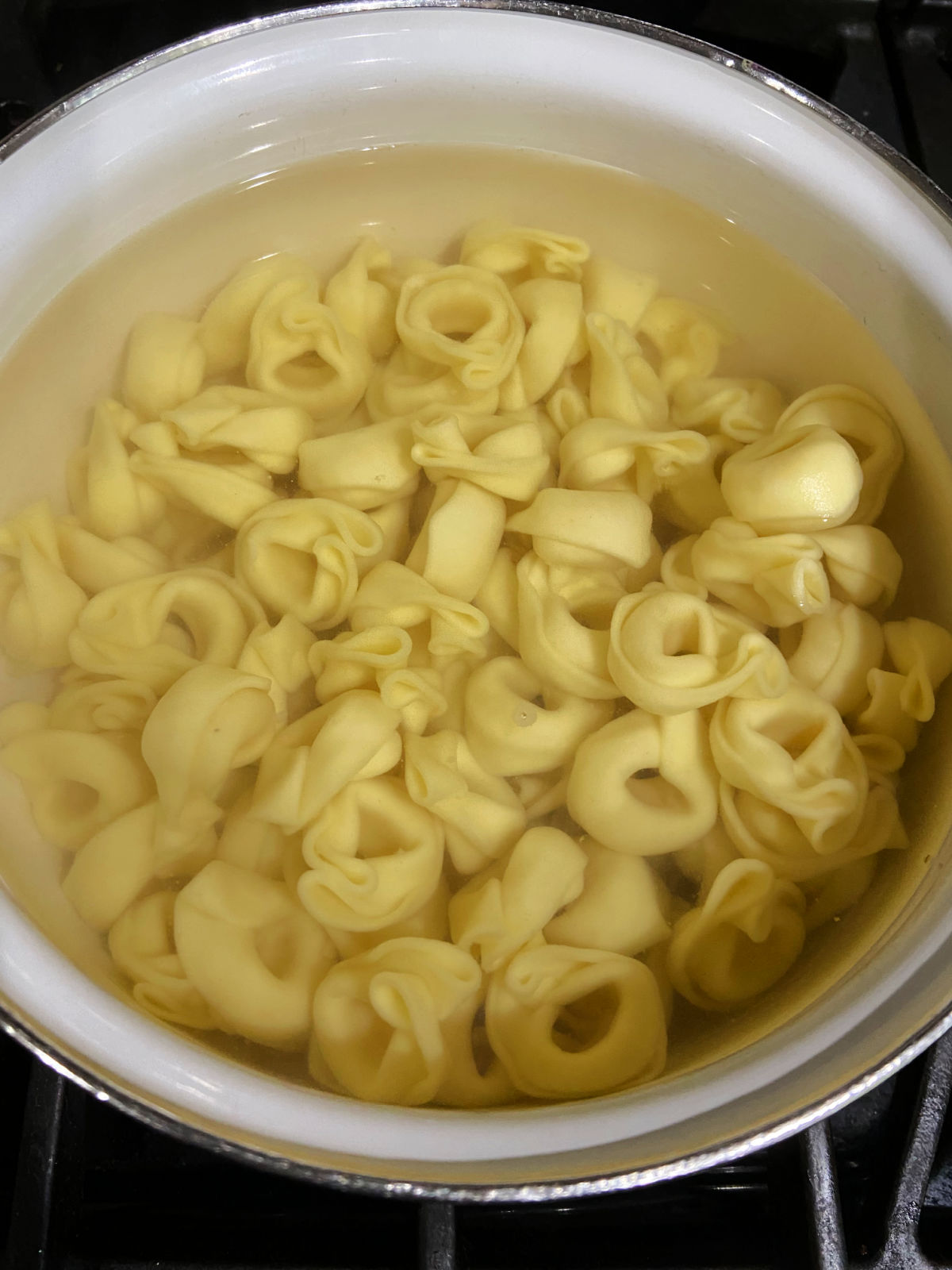 Boiling cheese tortellini in a pot of water.