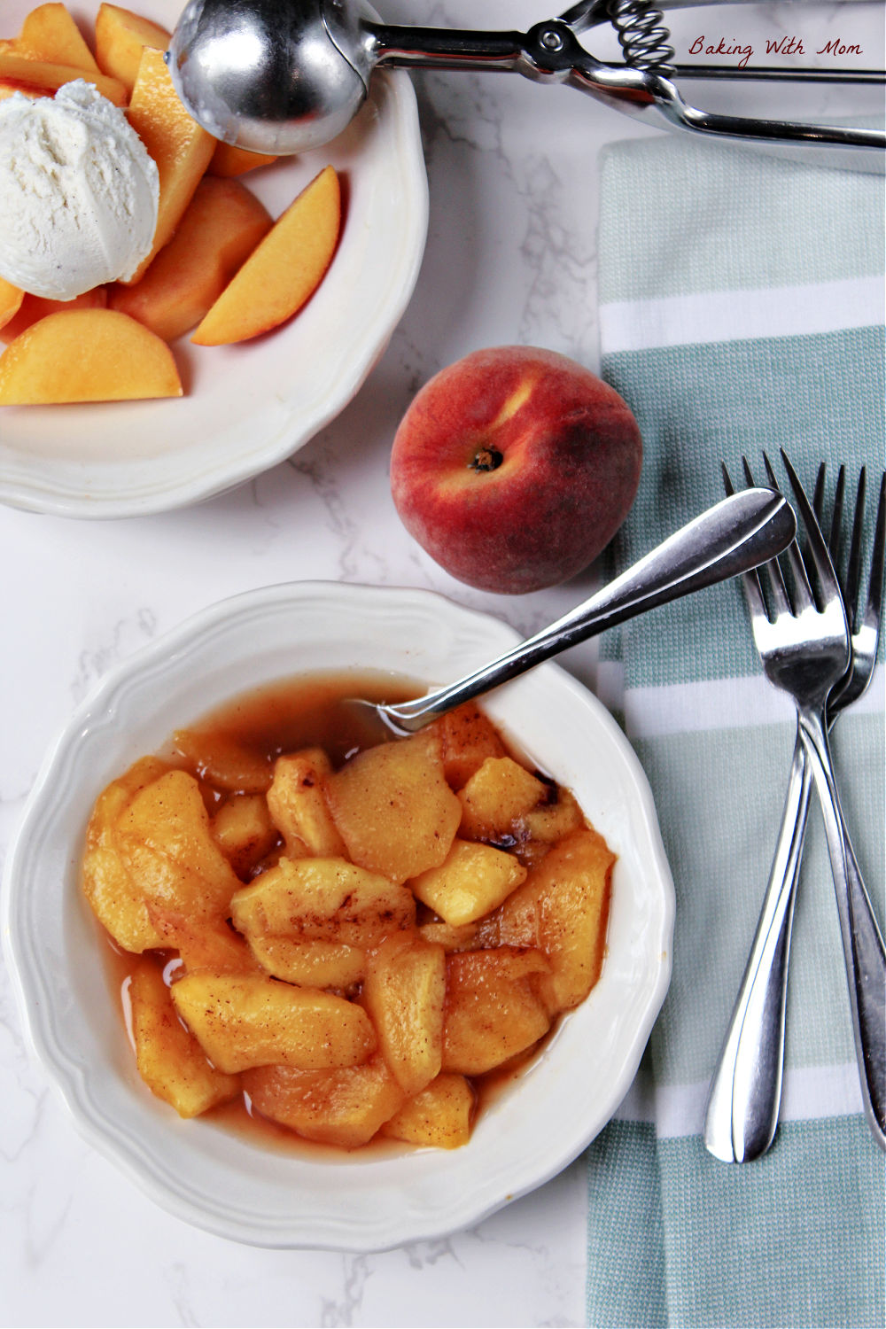 Cut and flavored cooked peaches in a bowl.
