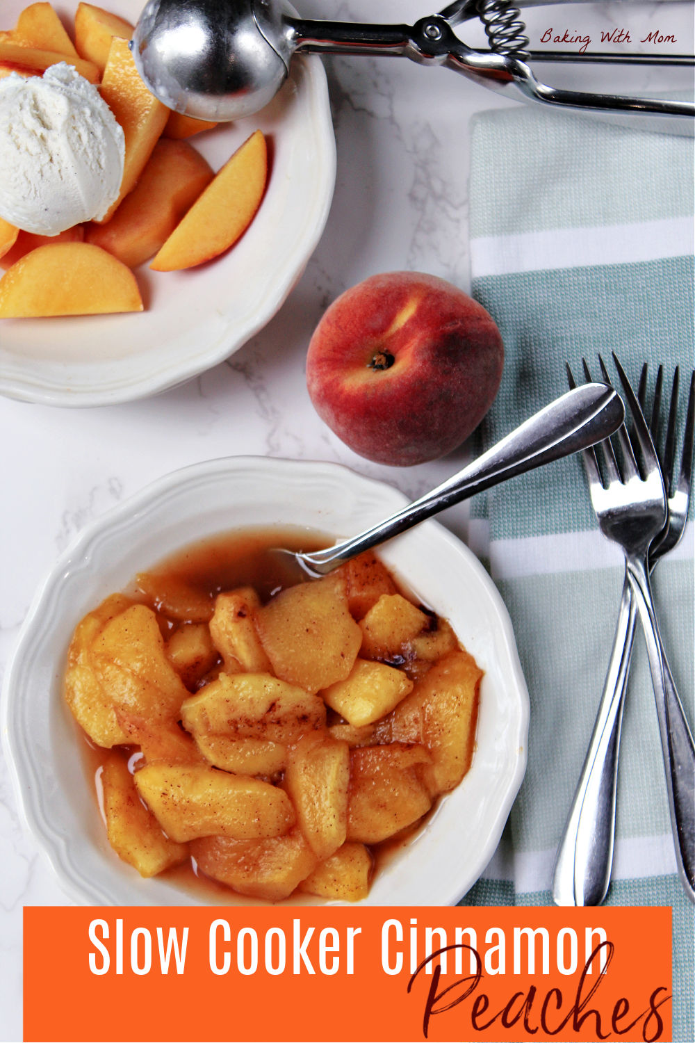 A peach, warm peaches in a bowl and a scoop of vanilla ice cream.